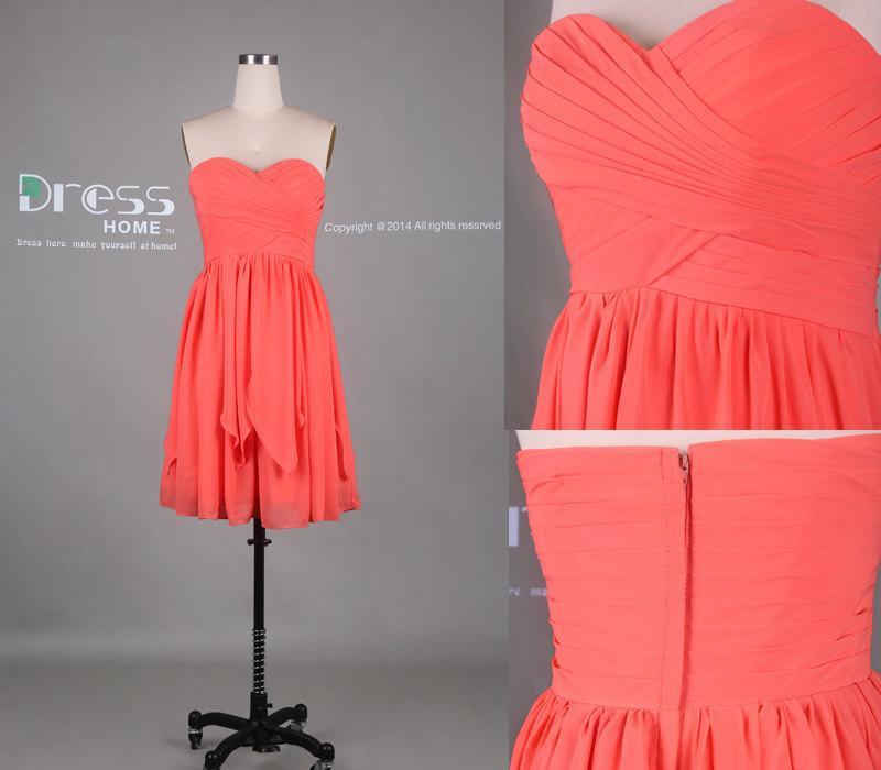 Düğün - Orange Sweetheart Pleats Short Bridesmaid Dress/Knee Length Bridesmaid Dress/Zipper Back Wedding Party Dress/Custom Make Short Dress DH339
