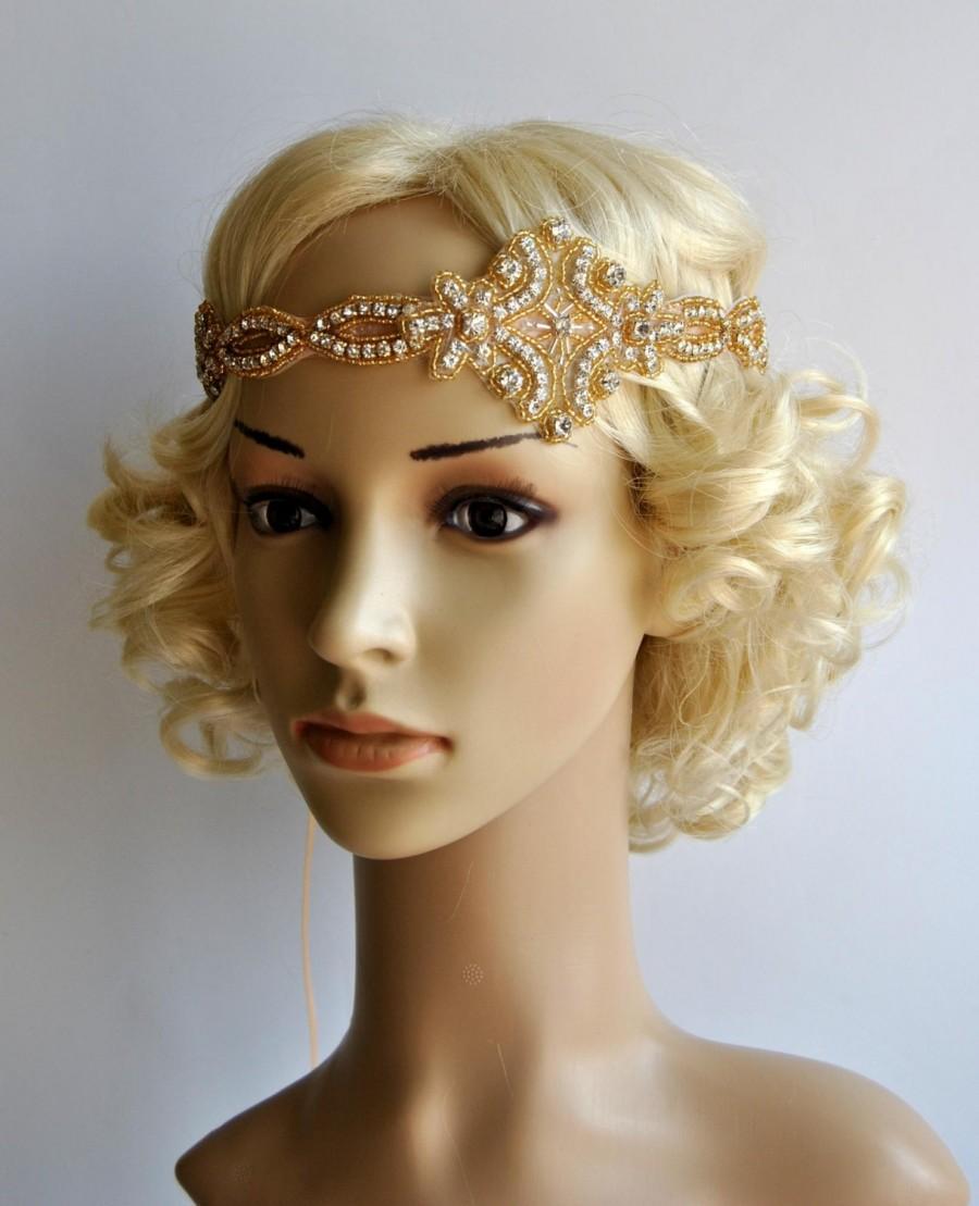 Gold Gatsby Headband 1920s Flapper Headpiece f74aaaa7a21