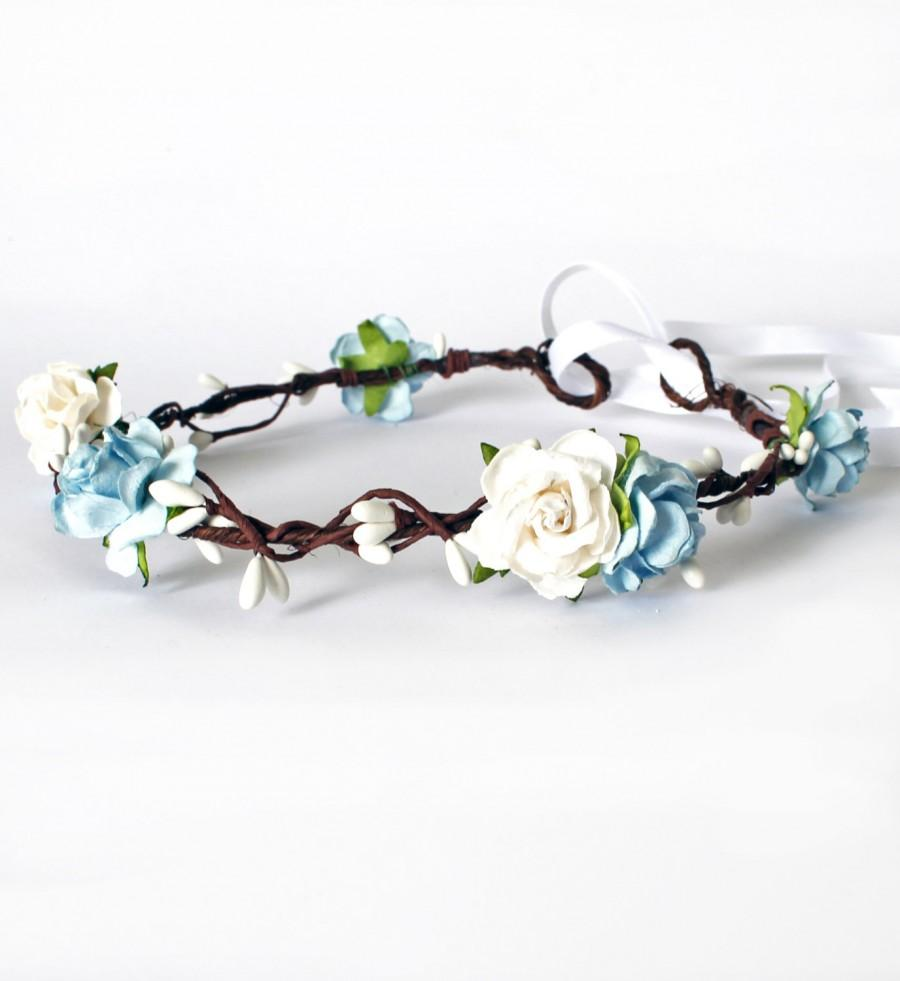 Blue and white rose floral crown halo flower girl bridesmaid garland blue and white rose floral crown halo flower girl bridesmaid garland izmirmasajfo