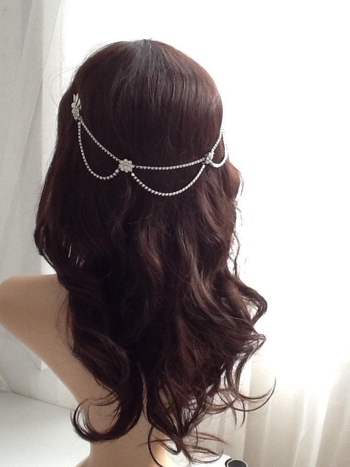 Mariage - Bridal Headpiece - 1920s wedding Headpiece - Bohemian Bridal Accessory- Silver-tone headpiece with drapes