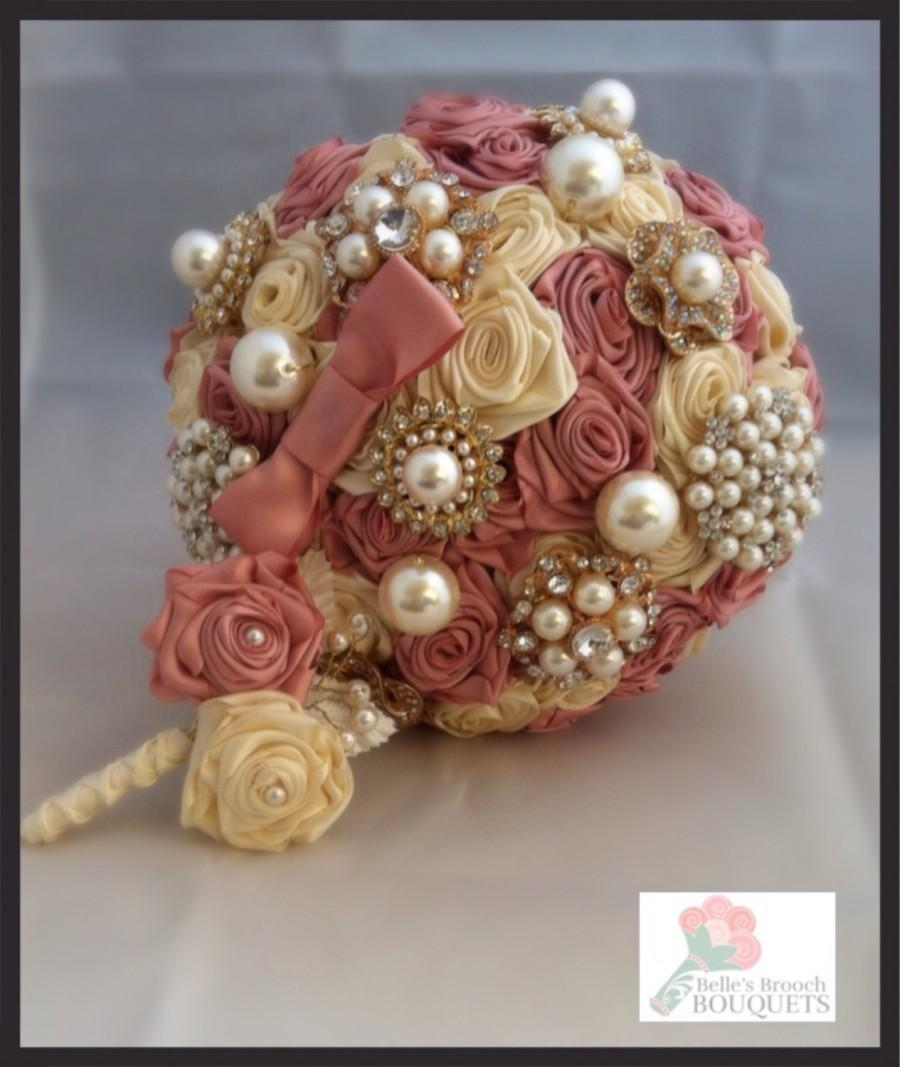 Dusky pink brooch bouquet ivory and pink bridal bouquet vintage dusky pink brooch bouquet ivory and pink bridal bouquet vintage ribbon rose bouquet brooch bouquet fabric bouquet ribbon rose bouquet mightylinksfo