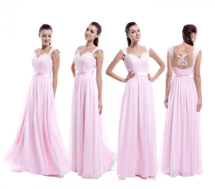 Mariage - Pink Prom Dress , Floor Length Open Back Lace Chiffon Prom Dress With Straps, Popular Bridesmaid Dress