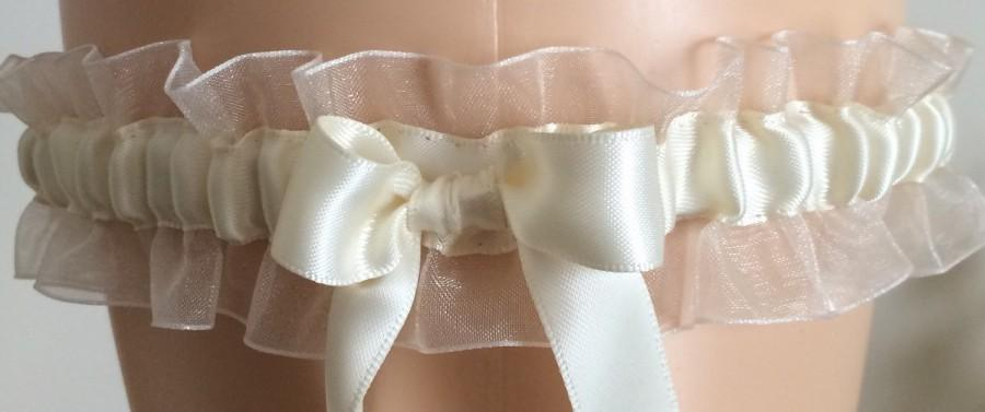 Wedding - Ivory Organza Garter, Wedding Garter, Bridal Garter, Keepsake Garter, Prom Garter, Costume Garter, Garters, Plus Size Garter