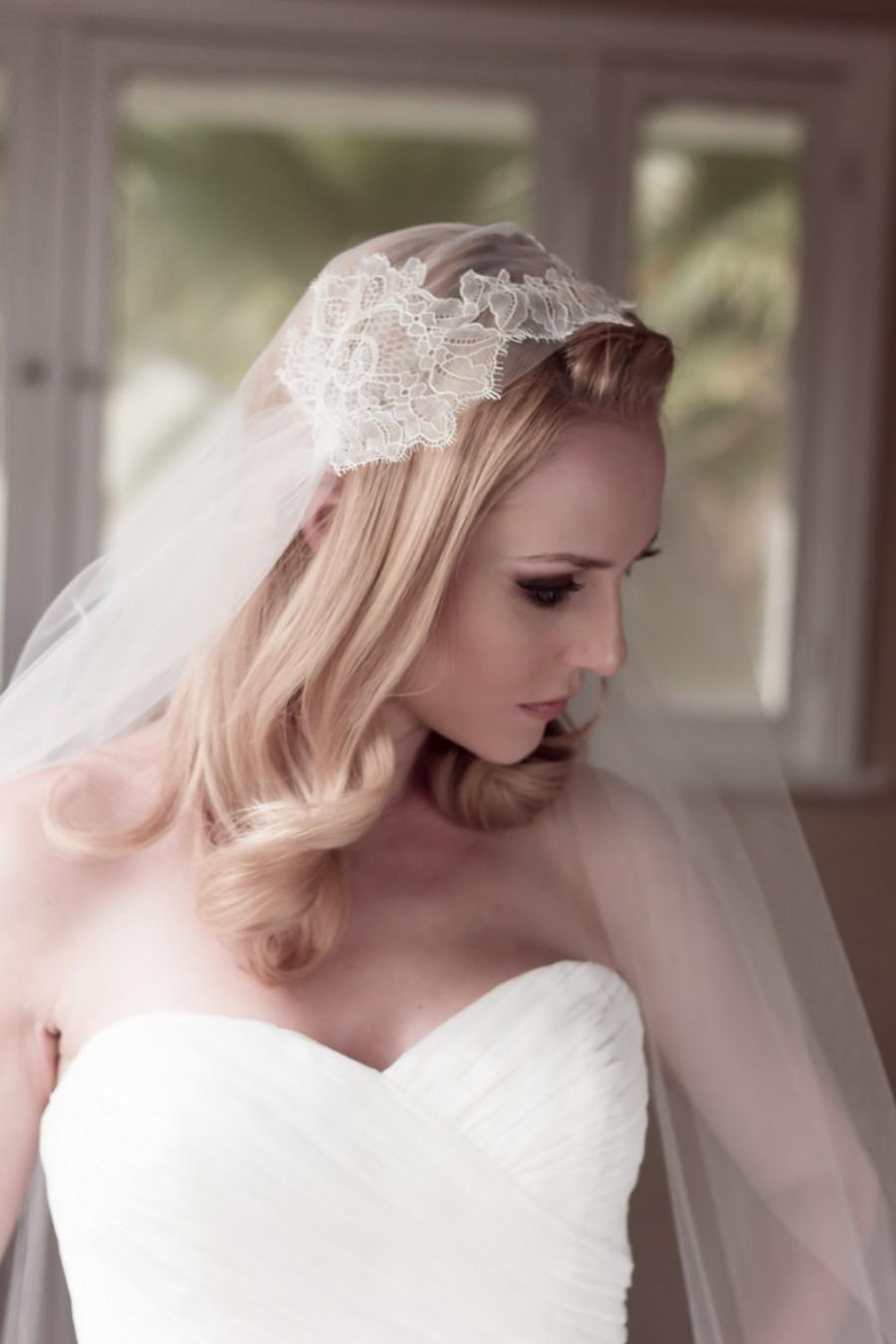 زفاف - Bridal Wedding Veil Chantilly Lace Juliet Bridal Cap, Ivory, Champagne, Fingertip, Cathedral, Waltz, Chapel, Style: Lillian #1210