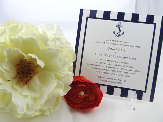زفاف - Nautical Wedding Invitation Set - Navy stripes and anchor, blue and white