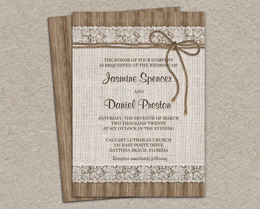 Rustic Burlap Wedding Invitation, DIY Printable Rustic Wedding Invitation  With Twine, Lace Wedding Invitations Nice Look