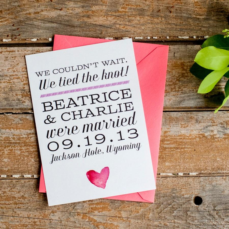 Wedding - Watercolor Wedding Announcement, Elopement Announcement, Typography Wedding Announcement - The Beatrice - Eco, blush, pink, rustic, eloped
