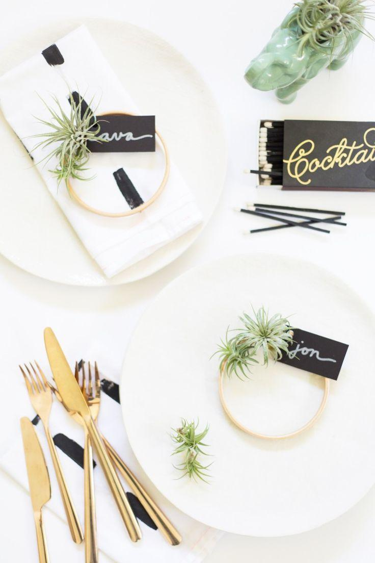 Wedding - DIY Mini Air Plant Wreath Place Cards » Lovely Indeed