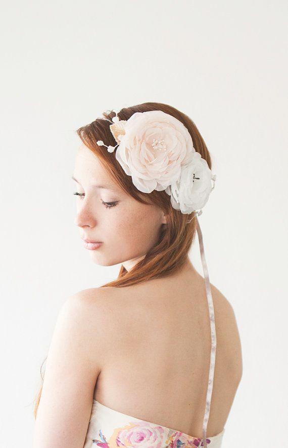 زفاف - Wedding, Bridal Fascinator, Head Piece, Floral Hair Piece, Hair Flower, Ivory - Innocence