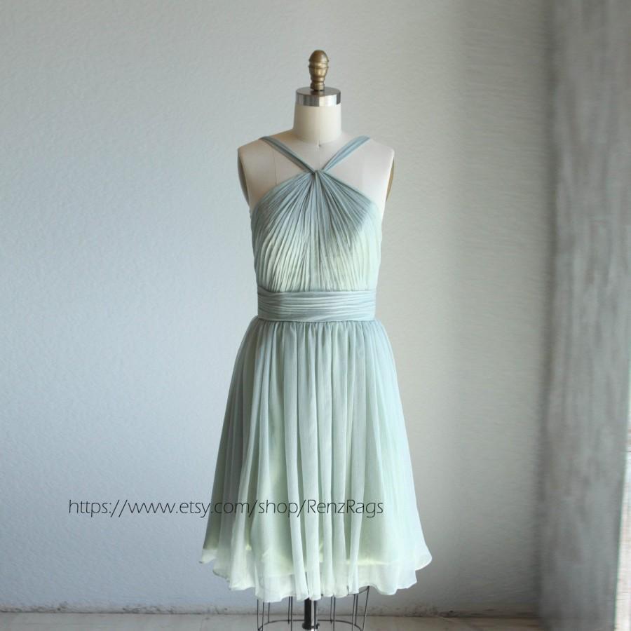 Mariage - 2015 Dusty Shale Bridesmaid dress, a line Halter chiffon Formal dress, Detachable Straps Mint Cocktail dress knee length ( B014A)-RENZ