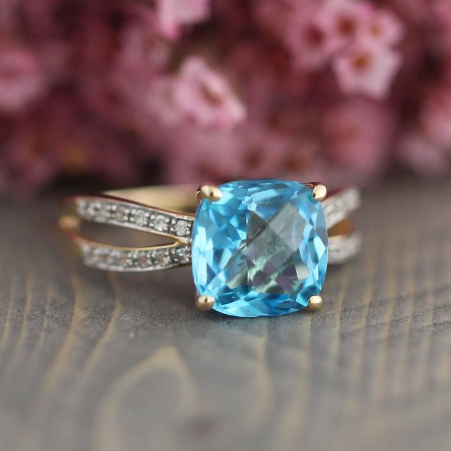 rings wedding gold topaz round claw birthstone band bridal december solitaire white ring prongs blue