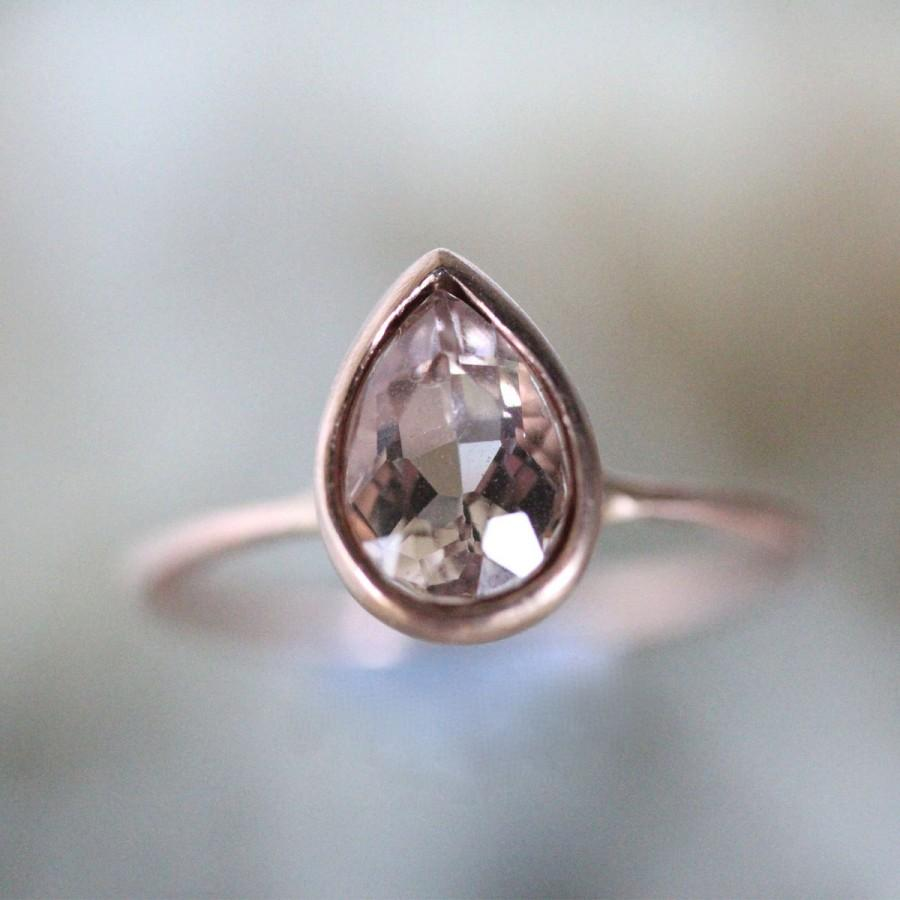 Morganite 14k Rose Gold Engagement Ring, Stacking Ring, Gemstone Ring, Eco  Friendly, Pear Shape Gold Ring  Made To Order