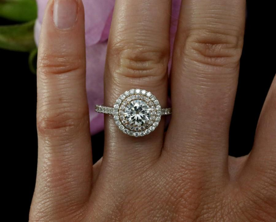 6 5mm Moissanite Double Halo Engagement Ring With Diamonds