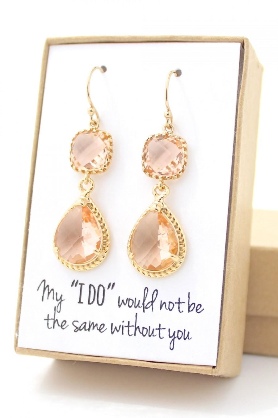 Wedding - Peach Champagne / Gold Long Rope Rim Earrings - Champagne Earrings - Peach Earrings - Bridesmaid Earring - Gold Bridesmaid Earring-ER2