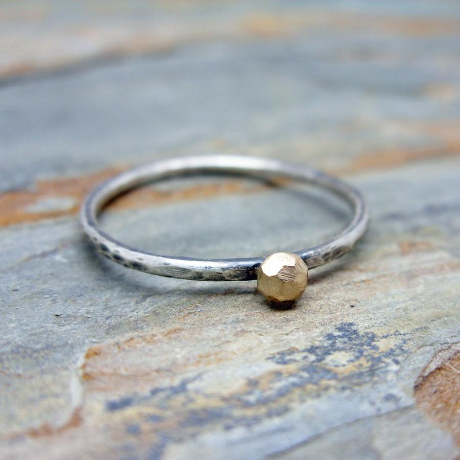 Mariage - Solid 14k Gold and Sterling Silver Hand Carved Faceted Rough Rock Solitaire Promise Ring - Alternative Engagement or Rustic Wedding Ring