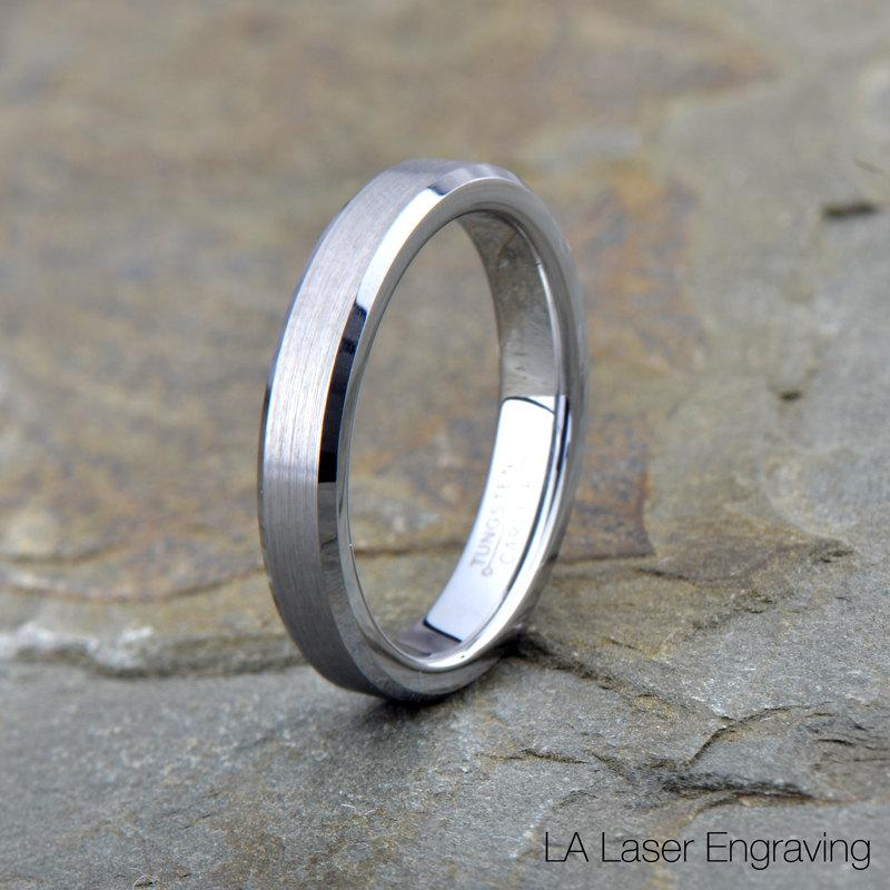Wedding - Tungsten Wedding Band, Brushed Tungsten Ring, Beveled Edges, Comfort Fit, Ring, Band, Anniversary Ring, Engagement Ring, Free Engraving, 4mm