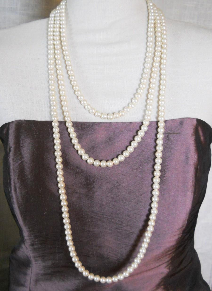 Wedding - Long Strand Pearl Necklace Wrap Style Layering Pearl Necklace Extra Long Gatsby Style Necklace Everyday Pearl Necklace Long Pearl Strands