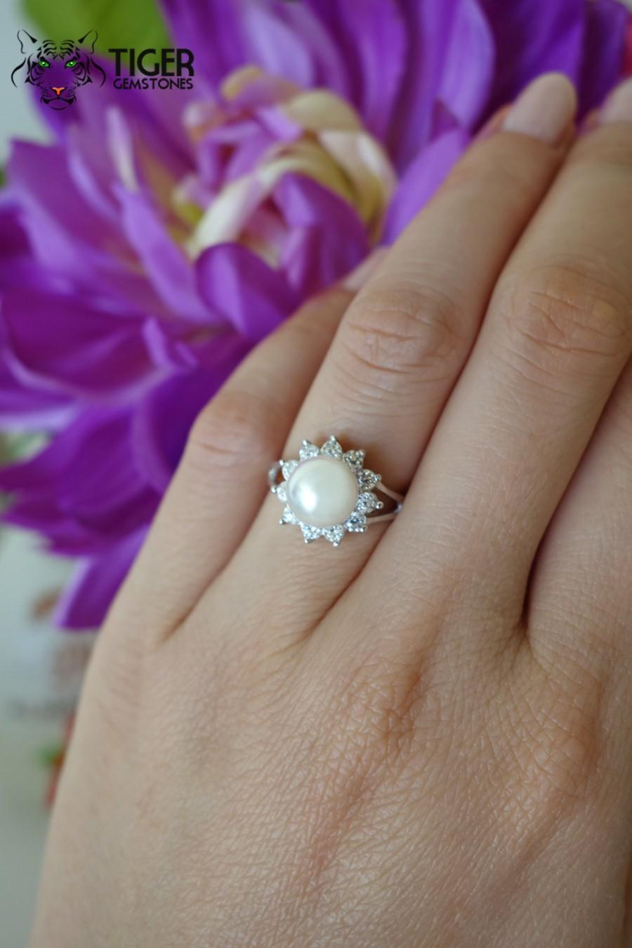 Wedding - 2 Carat 8mm Halo Engagement Ring, Man Made Pearl and Flawless White Diamond Simulants, Sterling Silver, Wedding Ring, Bridal, Promise Ring