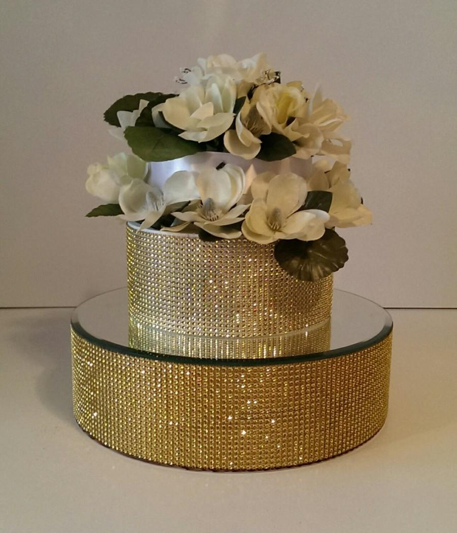 Gold Cake Stand Riser 14 Inch Round Bling With A Mirror Top Includes 1 One