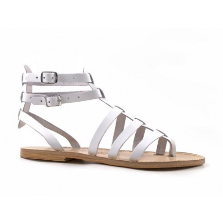 Mariage - White gladiator sandals for ladies Handmade in Italy in genuine leather - Italian Boutique