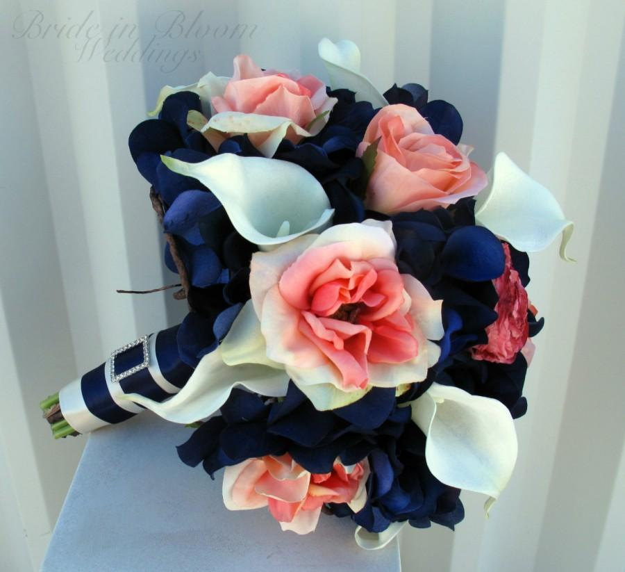 Coral And Pink Wedding Flowers: Wedding Bouquet Coral Navy White Calla Lily Rose Bridal