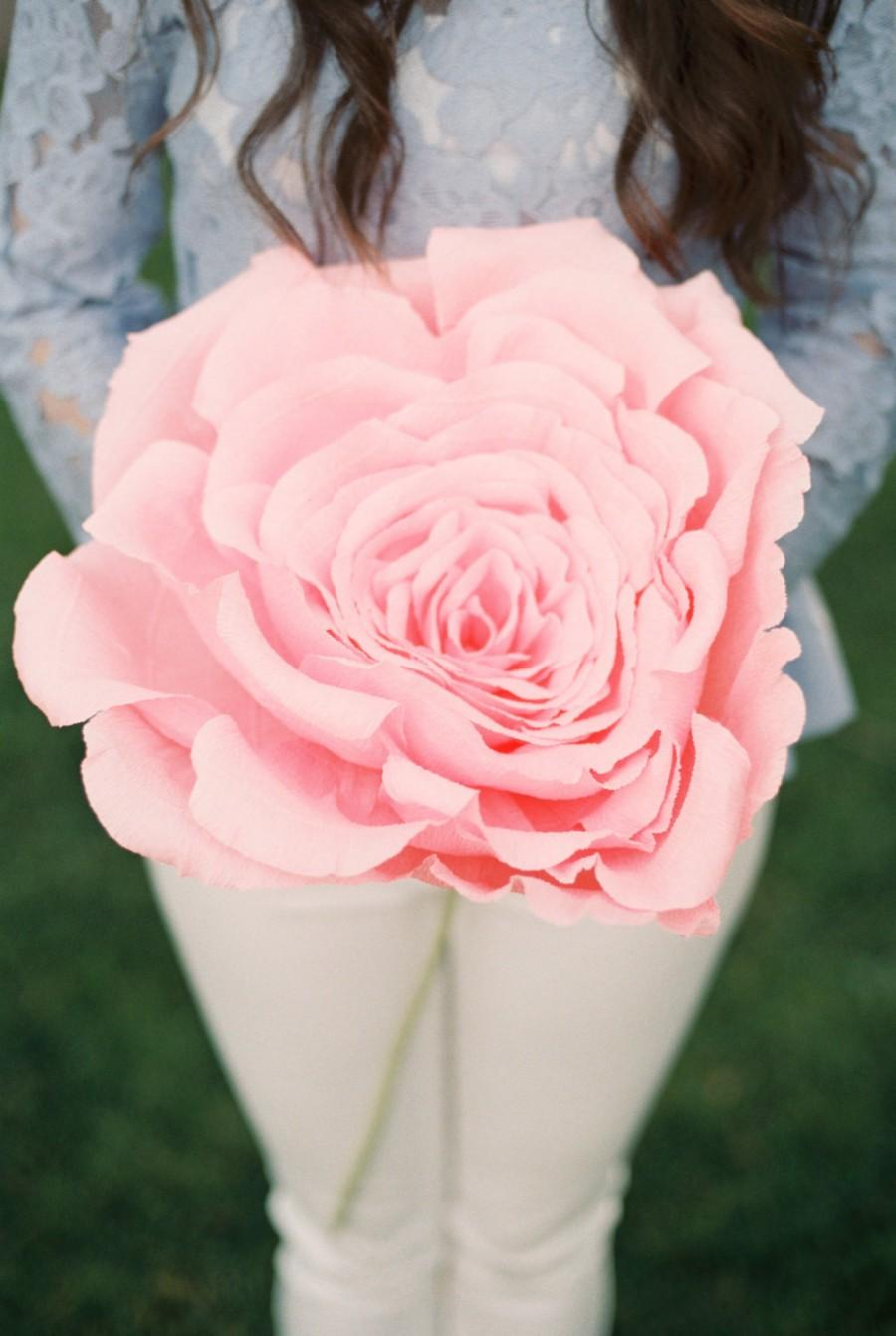 Wedding - Giant crepe paper flower. Oversized rose. Engagement photo session. Decor. Bridesmaid flower. Photo prop. Shop window.