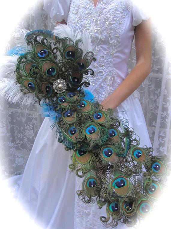 Luxurious Peacock Feather Cascade Bridal Bouquet