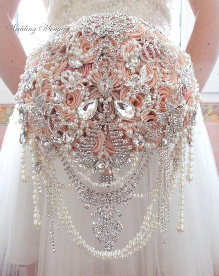 Ready 9 5 Cascading Full Price Pink Jeweled Brooch Bouquet Pale And Ivory Brides