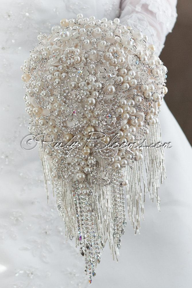 "Mariage - Cascading Silver White Wedding Brooch Bouquet. Deposit - ""Pearly Waterfall"" Cascading White Wedding Bouquet. Silver Bridal Broach Bouquet"