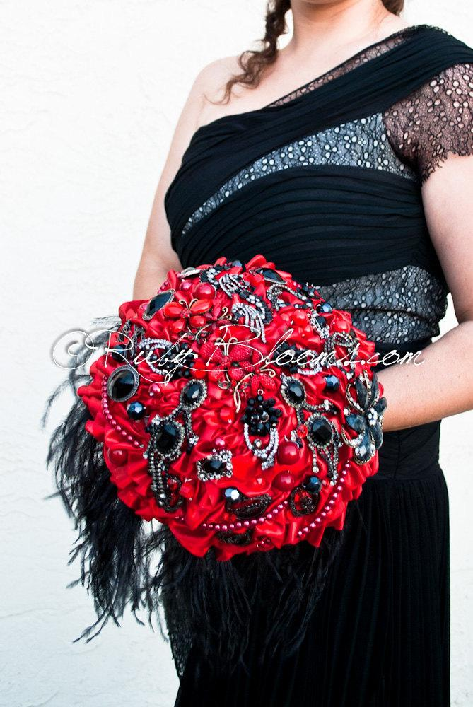 "Red Black Wedding Brooch Bouquet. Deposit – ""Milan Rouge"" Red And ..."