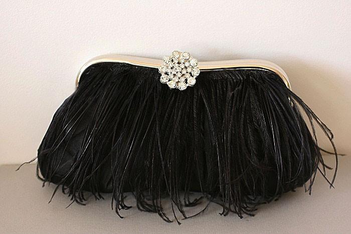 Mariage - LEVINA - Crystal and Ostrich Trimmed Clutch