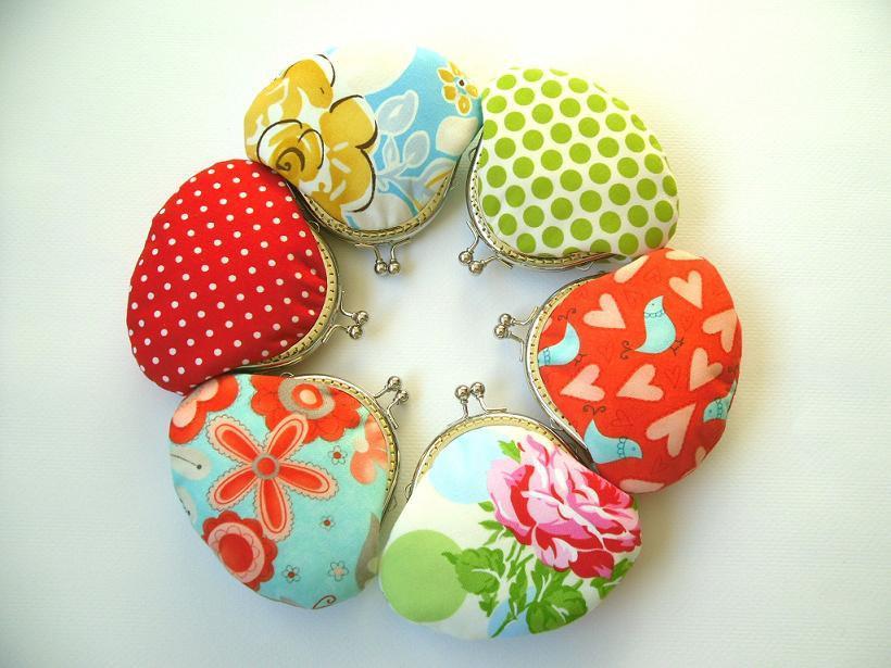 زفاف - Bridesmaid Gift Set - Group Gift, Party Gift - 6 Small Clutches / Coin Purses - Red, Green, Blue