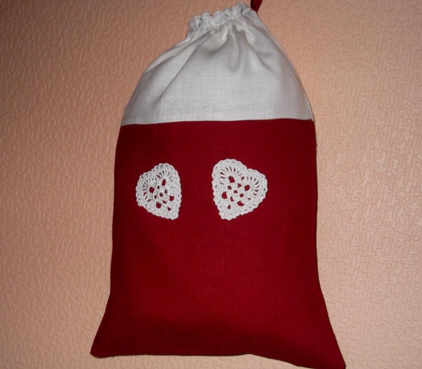 زفاف - Christmas linen drawstring gift bag girl lingerie red bag white hearts wedding party favor tote bag