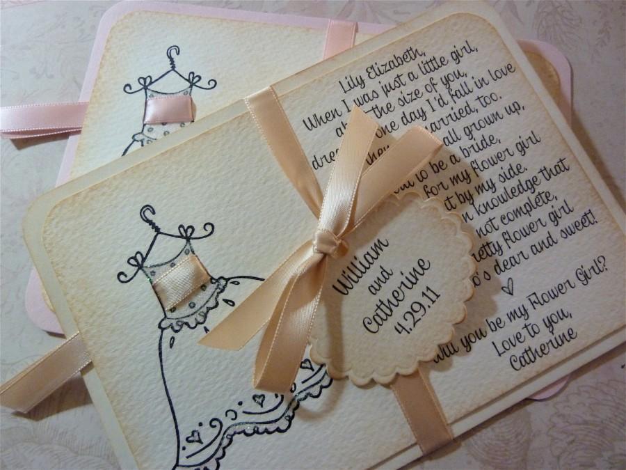 زفاف - Will you be my flower girl invitation personalized card vintage wedding