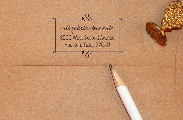 Wedding - Self Inking Return Address Stamp, custom address stamp with frame, self Inking black, rubber stamp wood handle