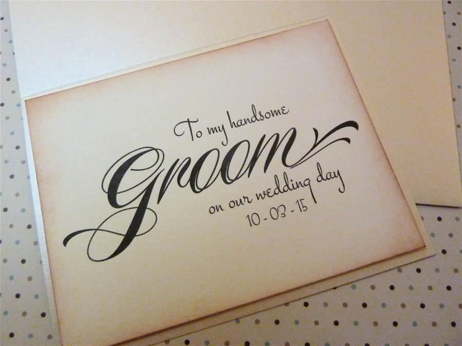 Hochzeit - Groom Wedding Card, Vintage Inspired Newlywed, To My Handsome Groom on our Wedding Day