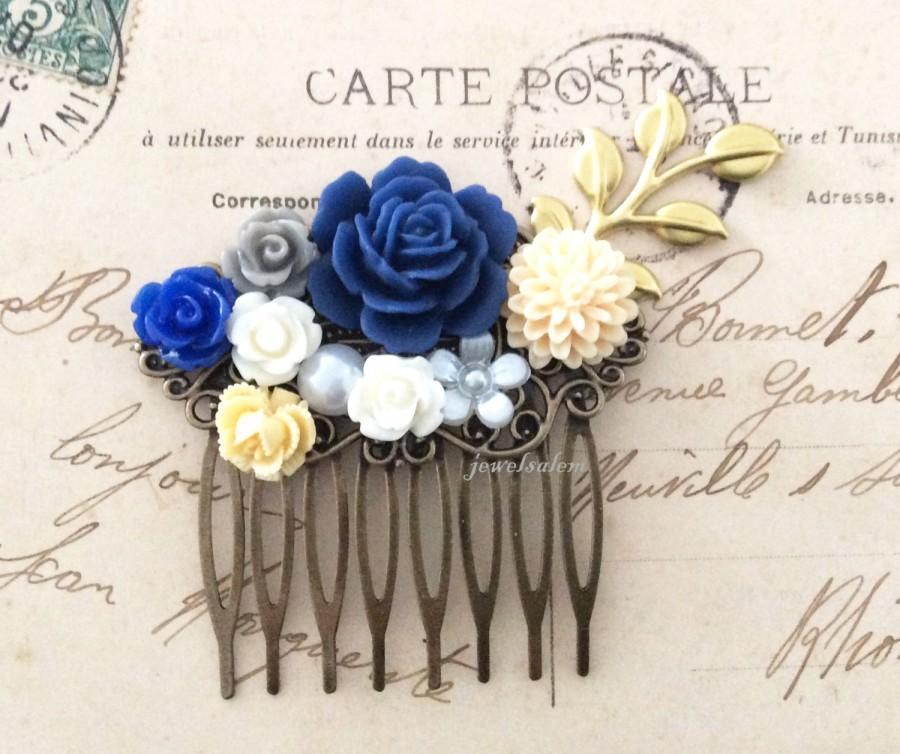 Hochzeit - Navy Blue Comb Dark Blue Gold Wedding Bridal Hair Accessories Ivory Cream White Woodland Branch Leaf Floral Headpiece Bridesmaid Hair Slide