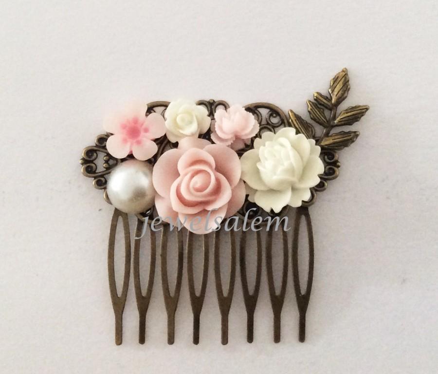 Light Pink Comb Wedding Bridal Hair Accessories Blush White Flower Leaf Bridesmaids Pin Romantic Soft Pastel Dreamy Vintage Style PM