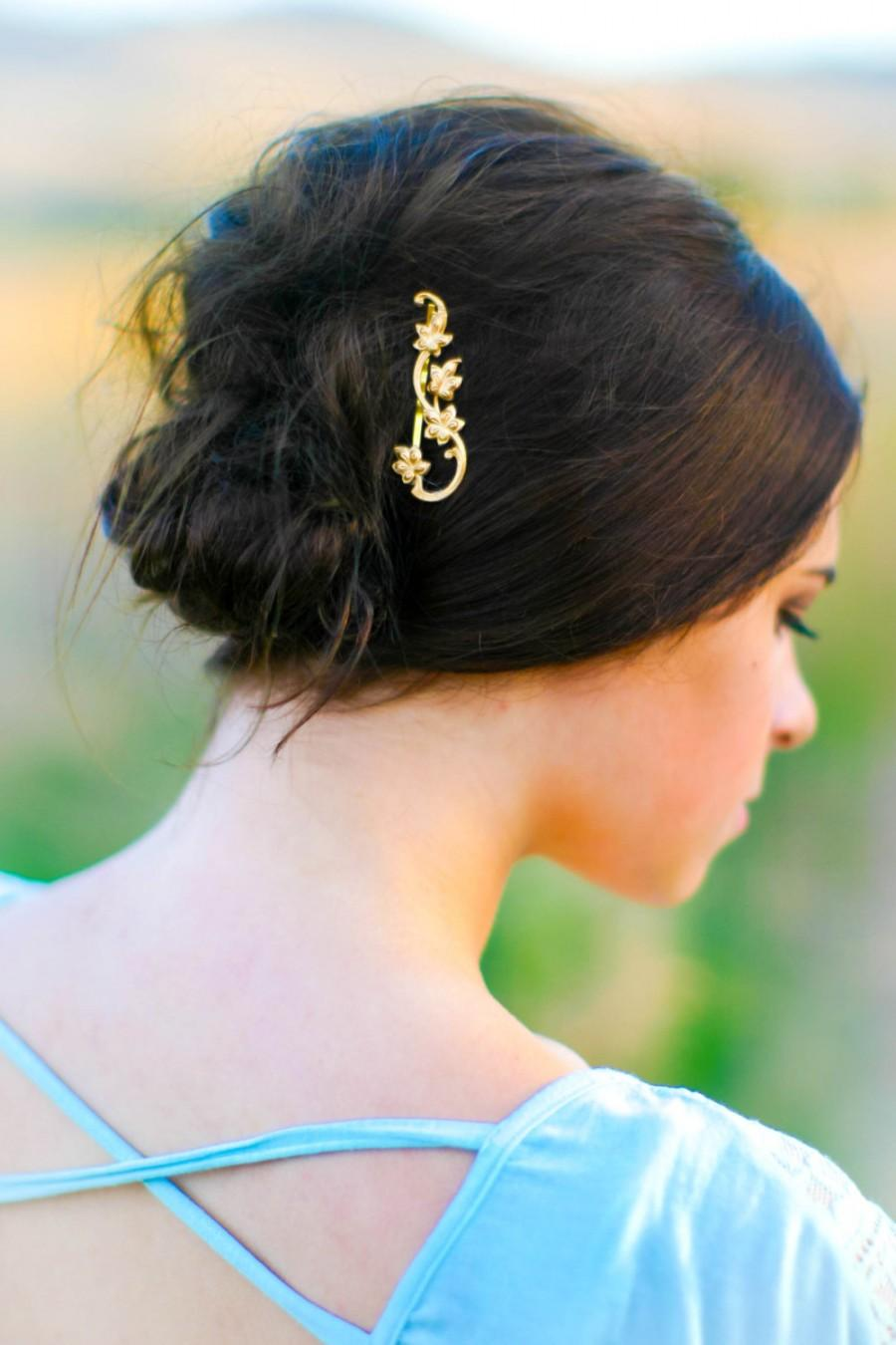 Mariage - Dainty Gold Leaves on Vine Bobby Pin Leaf on Branch Hair Pin Woodland Fall Hair Accessories