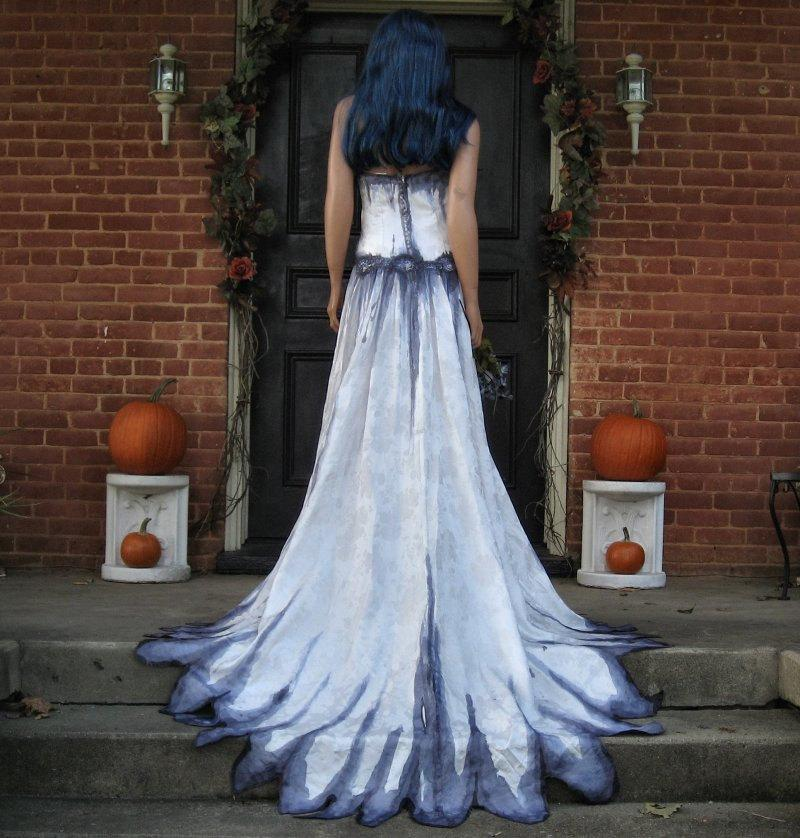 Mariage - Corpse Bride Wedding Gown Hand Painted Gothic