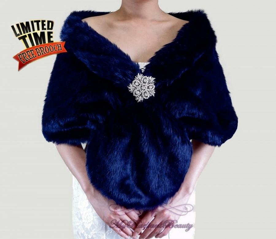 Düğün - Faux Fur Stole, Bridal Navy Blue Faux Fur Wrap, Navy Blue Bridal Wrap Stole, Wedding Stole, Bridal Wrap, Bridal Stole FS108-NBLUE
