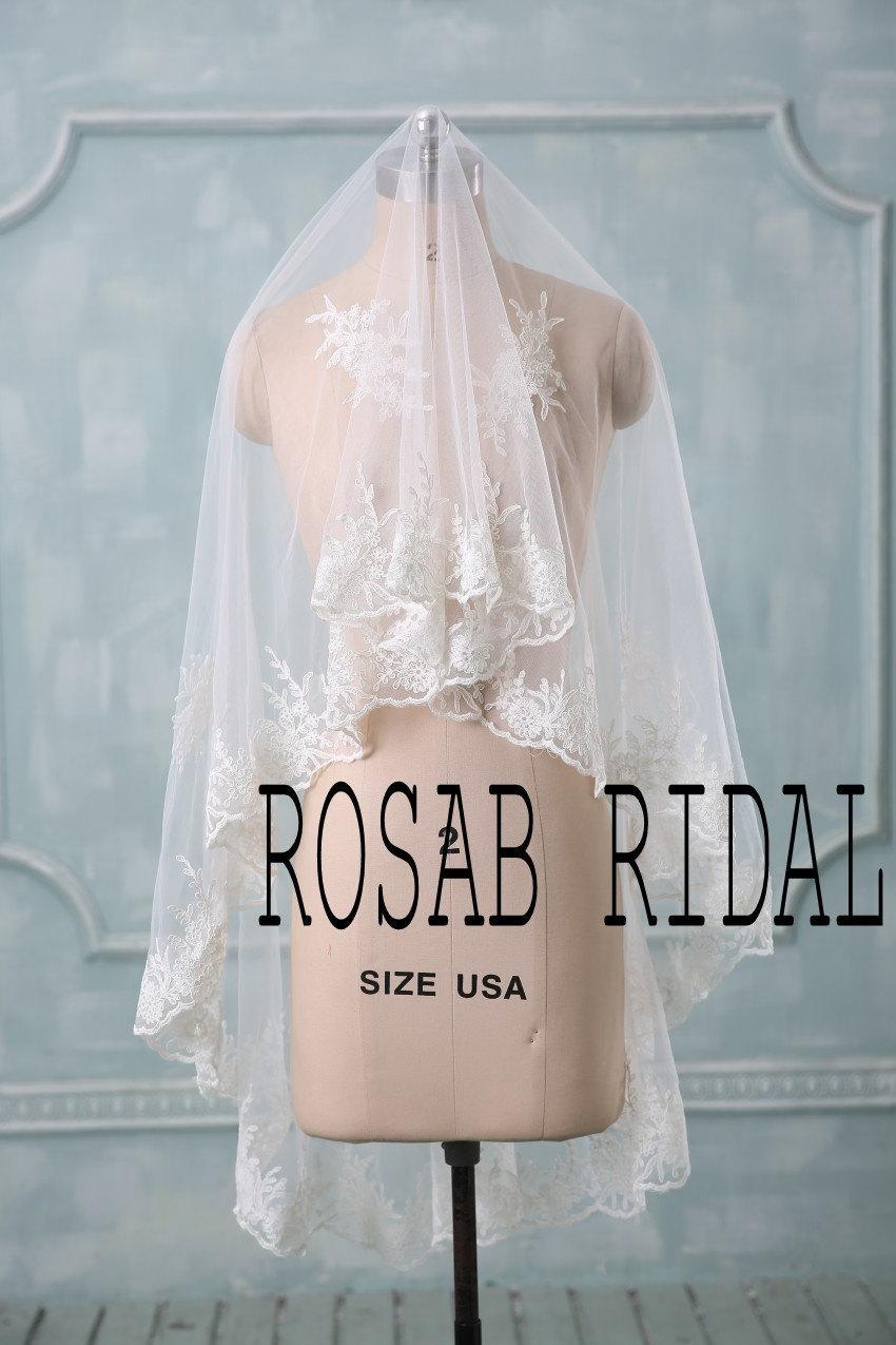 Wedding - Lace wedding veil, One tier lace veil, Bridal veil lace, Lace edge wedding veil White / Ivory