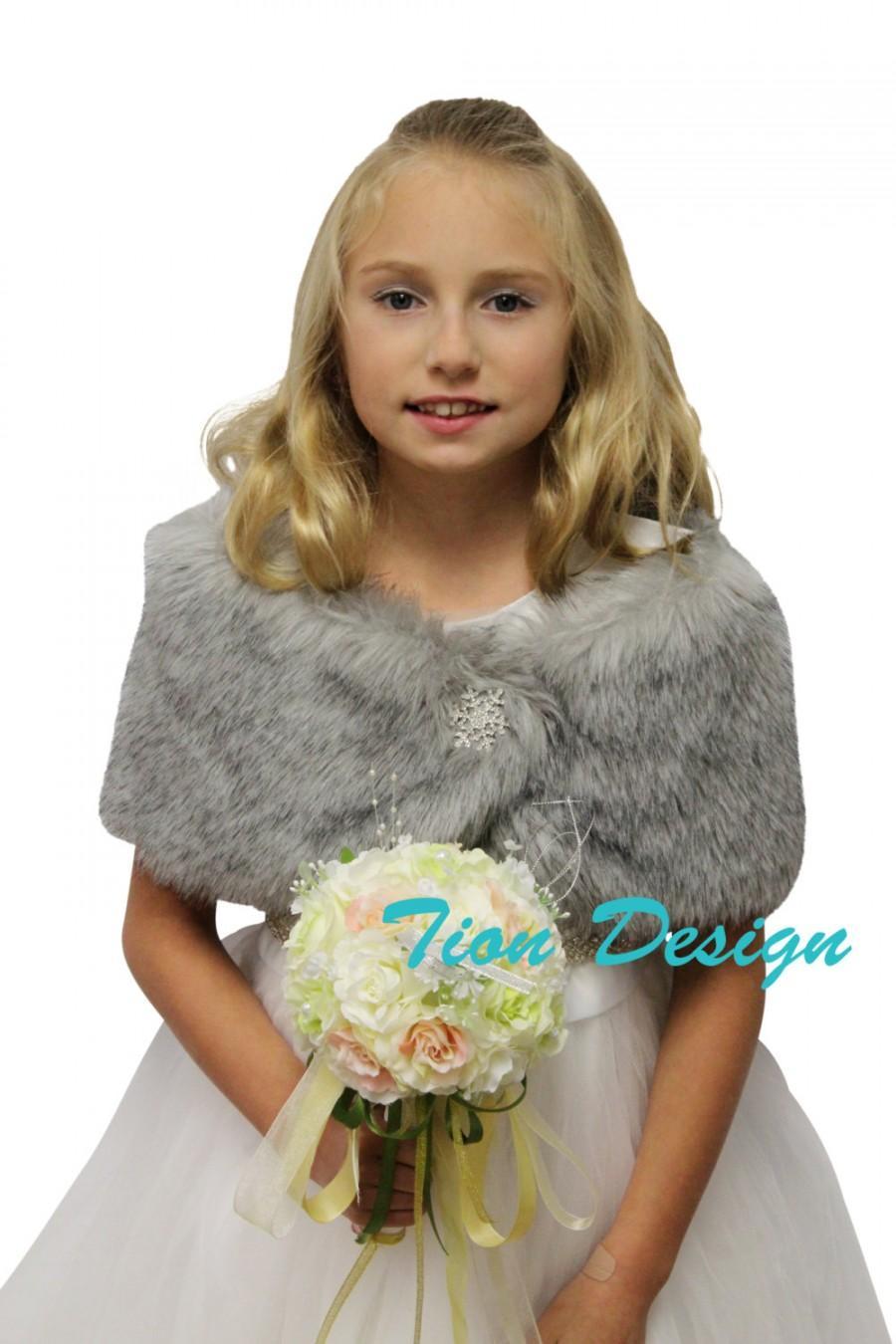 Wedding - Faux fur wrap, Bridal wrap, Grey Chinchilla Faux Fur Wrap Fox for FLOWER GIRLS, faux fur shrug, faux fur cape