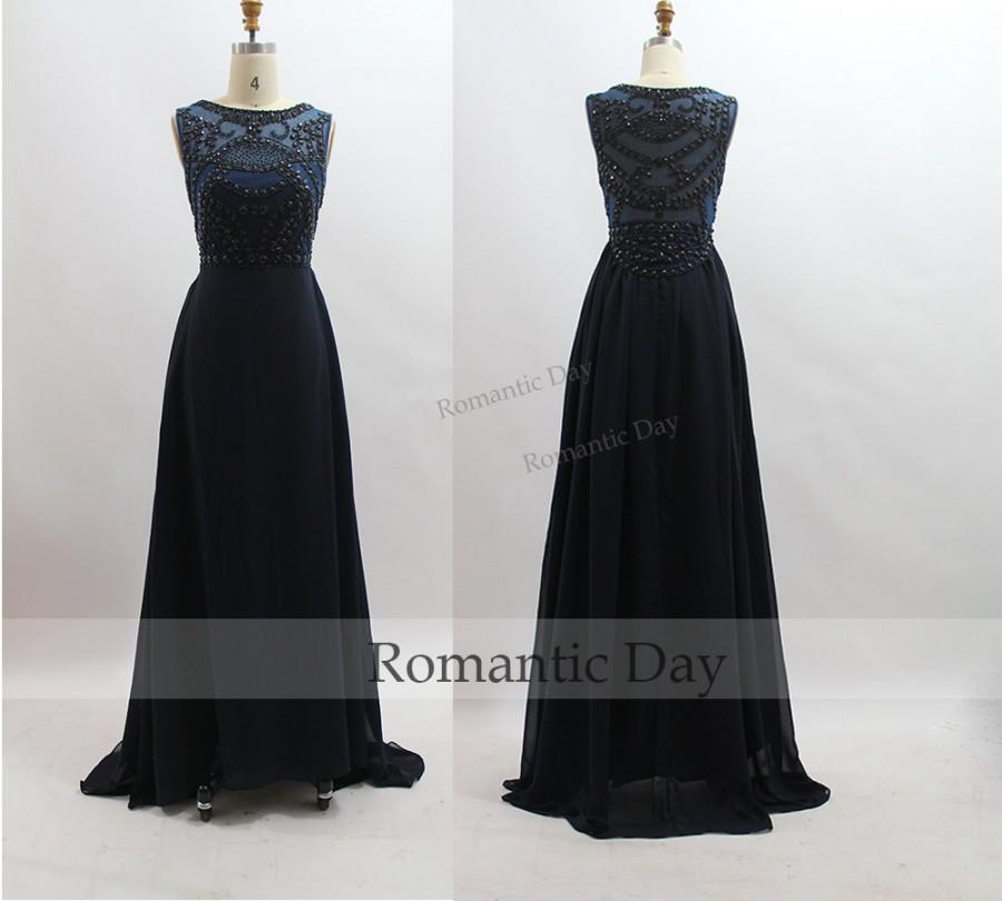 Mariage - 2015 Black Rhinestone Sexy Long Prom Dress/Long Party Dress/Celebrity Dress/Evening Gown/Custom Made 0340