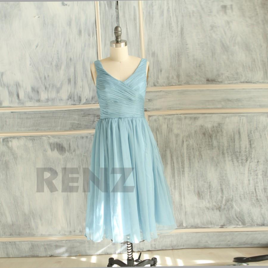 Mariage - 2015 Light Blue Bridesmaid dress, Wedding dress, Chiffon Party dress, Formal dress, Prom dress, Evening dress knee length (B059C)