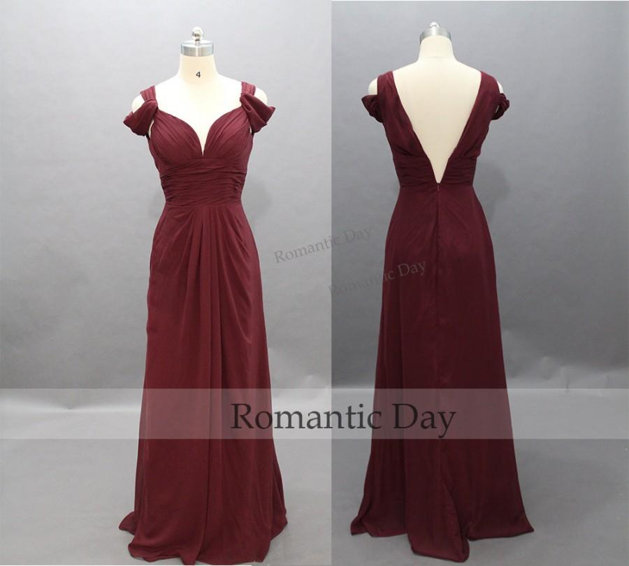 Boda - Elegant Burgundy Long Chiffon Prom Dresses/Beach Wedding Dress/Vintage Dress/Evening Dresses/Prom Party/Custom Made 0335