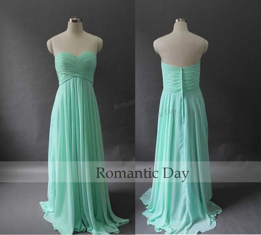 2015 Sweetheart A Line Long Chiffon Mint Greencoral Bridesmaid