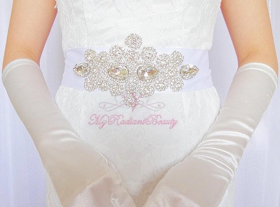 Mariage - Bridal Sash, Rhinestone Sash, Handmade Sash, Vintage Rhinestone Sash Belt, Beaded Sash, Luxurious Sash, Wedding Sash, Diamond Sash SB0011