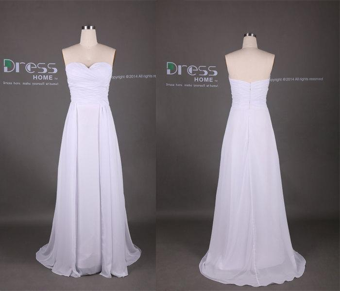 White sweetheart pleats a line chiffon long bridesmaid for Long flowy wedding dresses