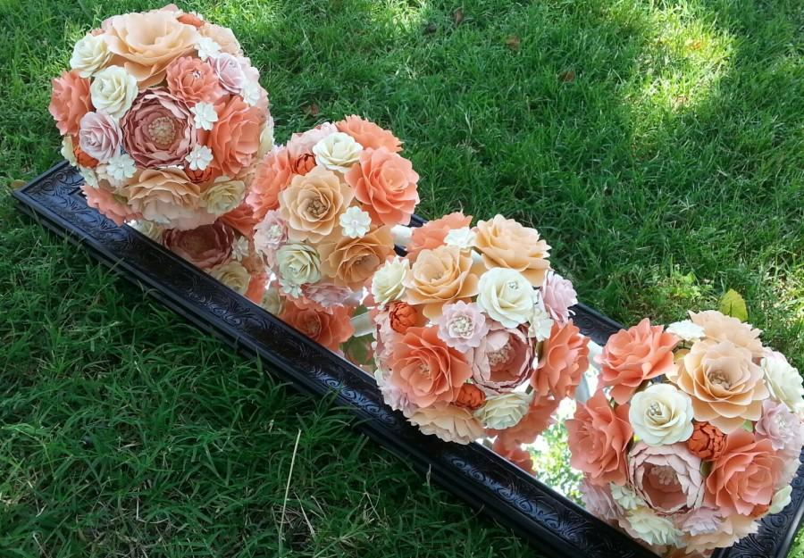 Mariage - Paper Bouquet - Paper Flower Bouquet - Wedding Bouquet - Peach and Salmon with Orange - Custom Made - Any Color